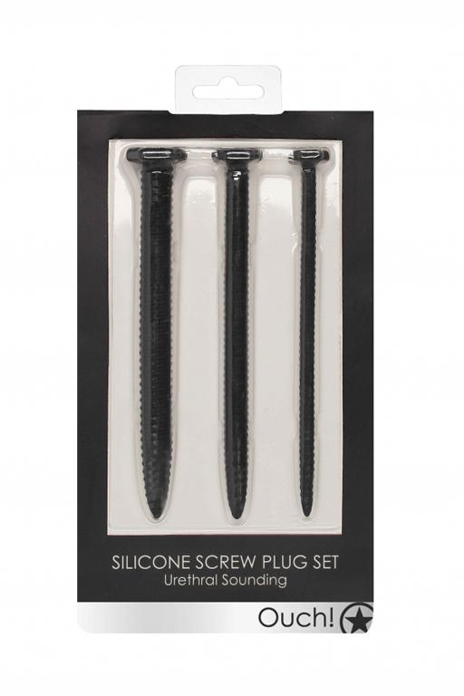Набор из трех стимуляторов уретры (струн) Silicone Screw Plug Set