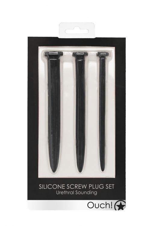 Набор из трех стимуляторов уретры (струн) Silicone Rugged Nail Plug Set